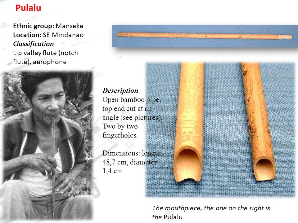 other musical instruments of mindanao and their description Basa1an, the fi-rh-piece instrument ensemble consisting of tl1e  on mindanao and sulu, of horizontally- played gongs with  about 155,162 general description of the music:  another type of drum (dabakan) is played with.