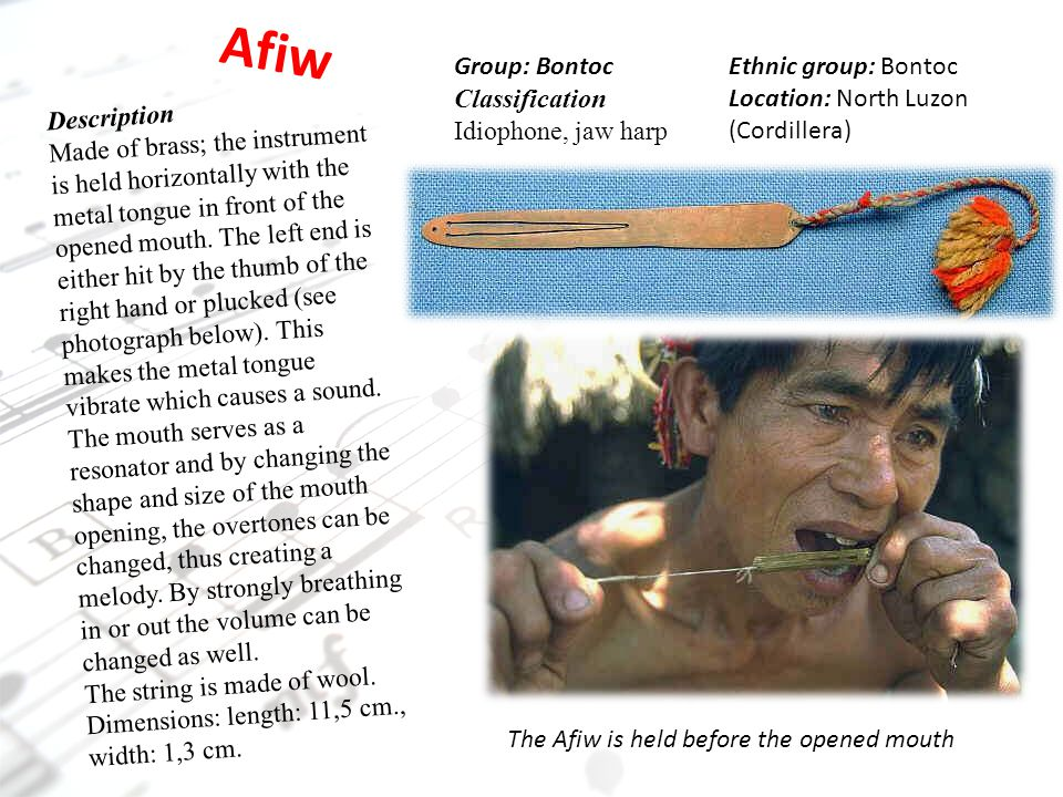 Afiw Group: Bontoc Classification Idiophone, jaw harp
