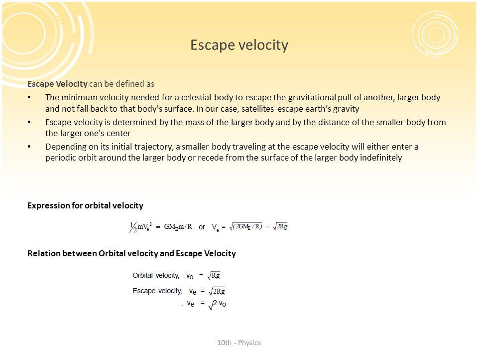Escape velocity Escape Velocity can be defined as