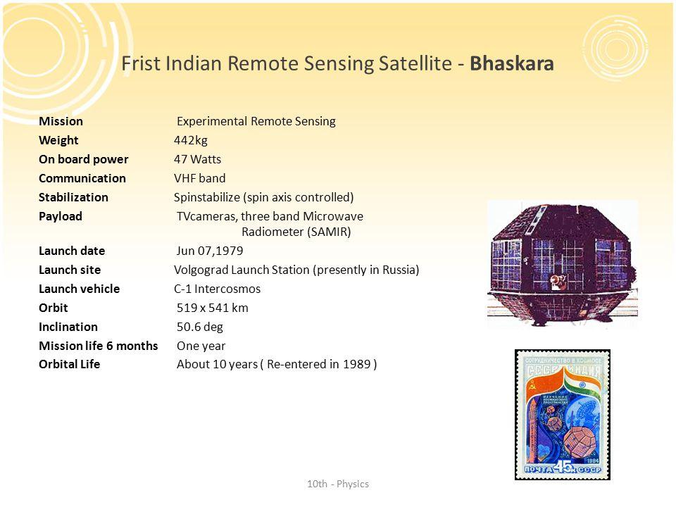 Frist Indian Remote Sensing Satellite - Bhaskara
