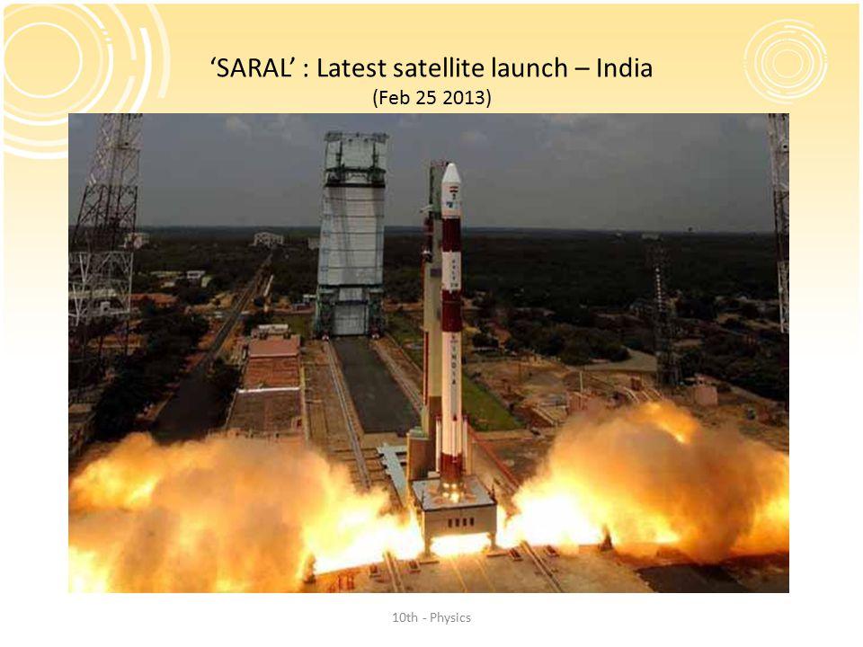 'SARAL' : Latest satellite launch – India (Feb 25 2013)