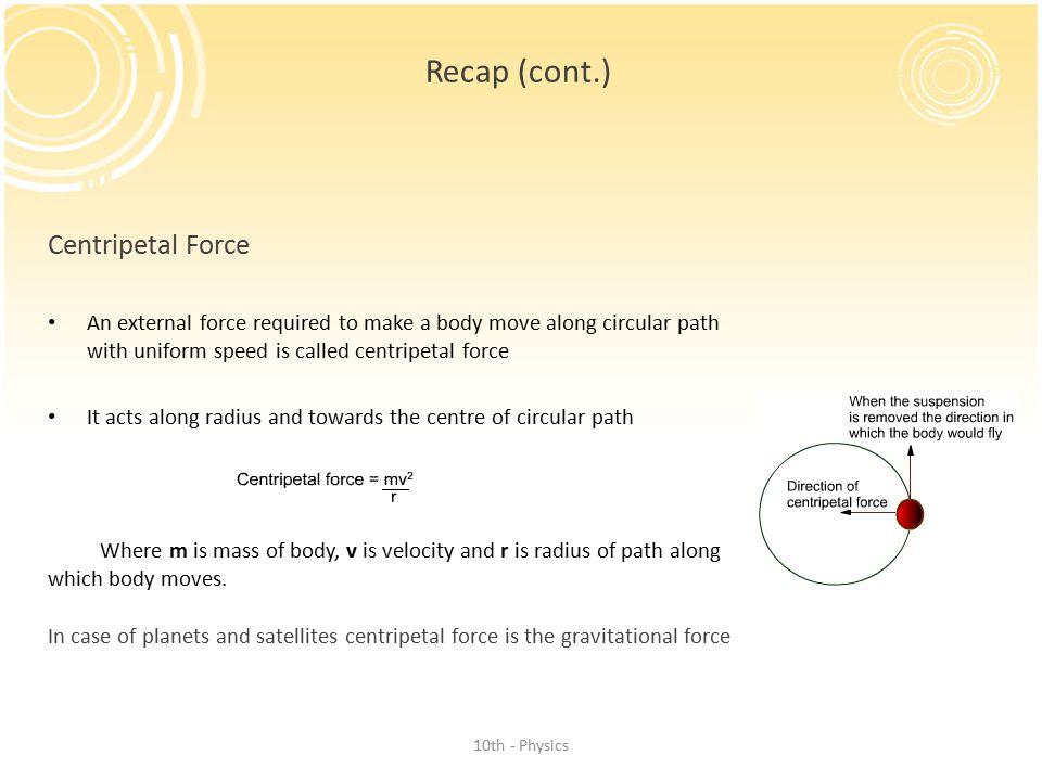 Recap (cont.) Centripetal Force