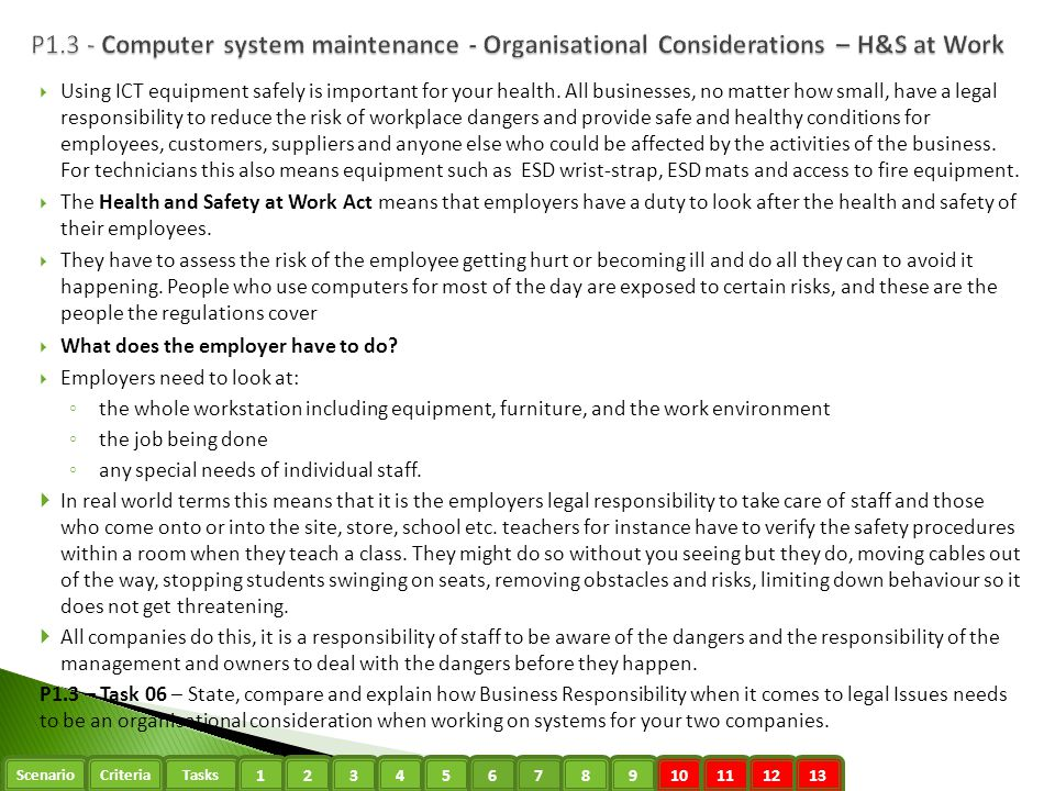 P1.3 - Computer system maintenance - Organisational Considerations – H&S at Work