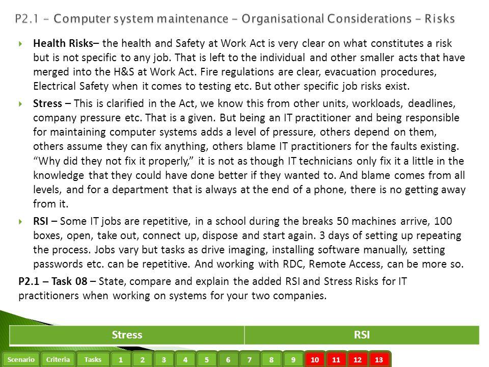 P2.1 - Computer system maintenance - Organisational Considerations - Risks