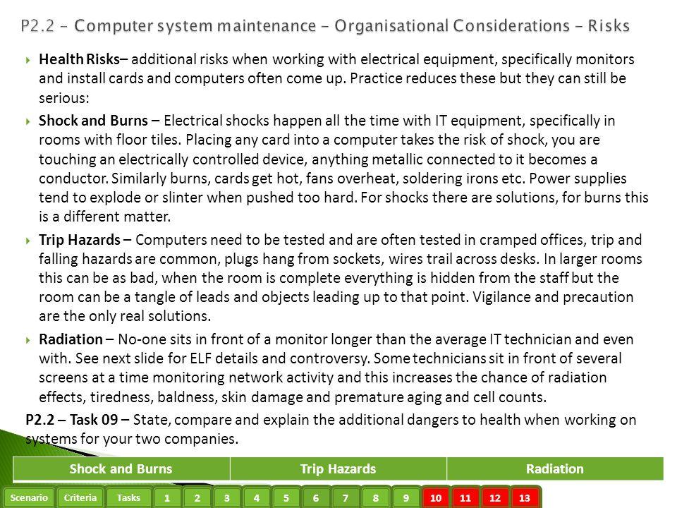 P2.2 - Computer system maintenance - Organisational Considerations - Risks