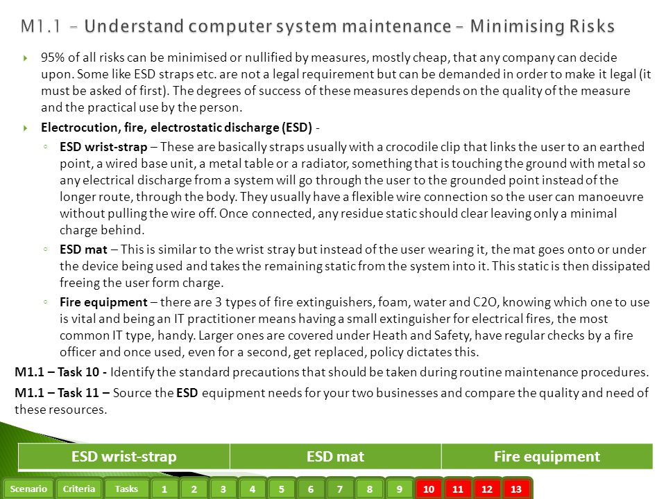 M1.1 - Understand computer system maintenance – Minimising Risks