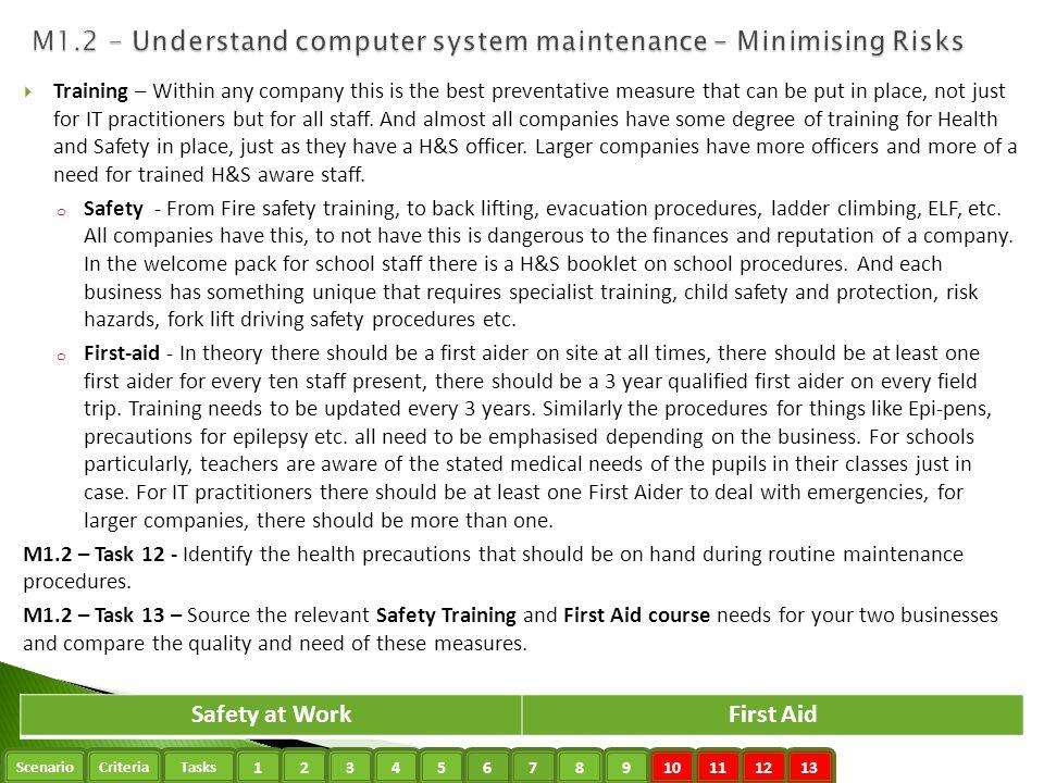 M1.2 - Understand computer system maintenance – Minimising Risks