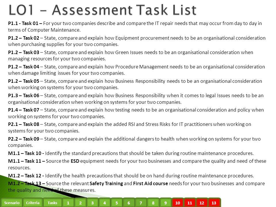 LO1 - Assessment Task List
