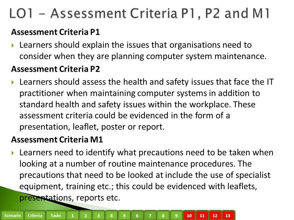 LO1 - Assessment Criteria P1, P2 and M1