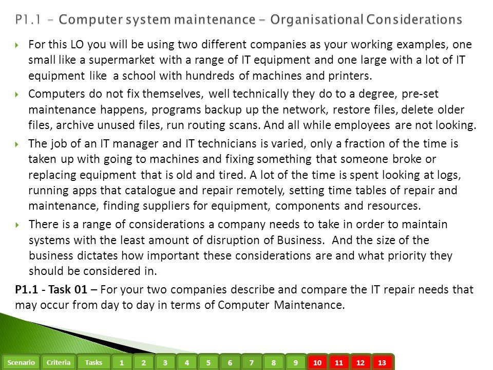 P1.1 - Computer system maintenance - Organisational Considerations