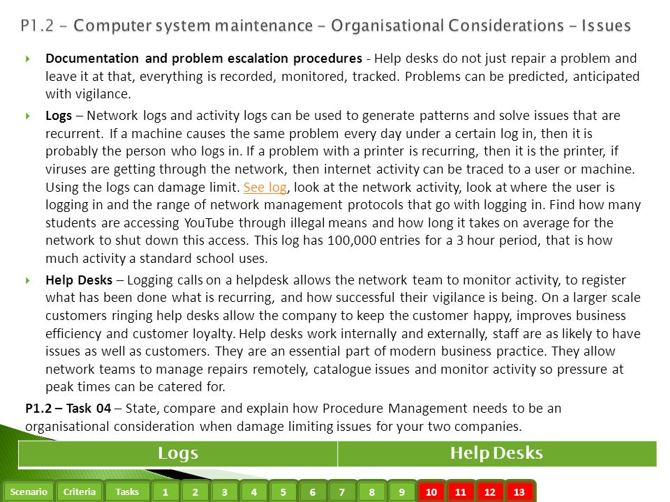 P1.2 - Computer system maintenance - Organisational Considerations - Issues