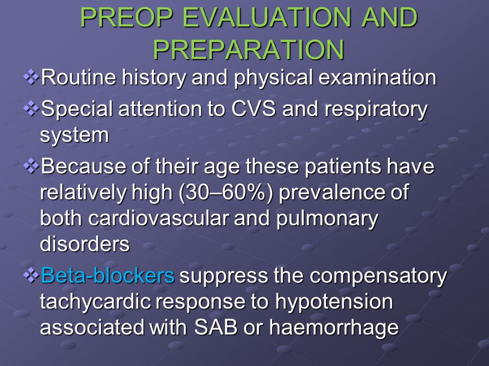 PREOP EVALUATION AND PREPARATION