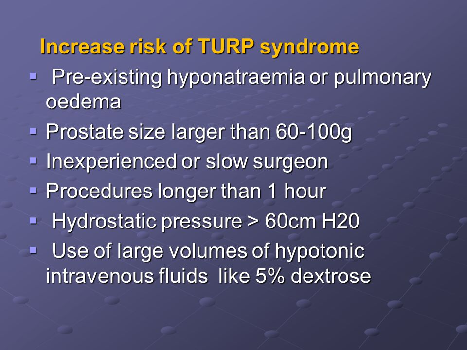 Increase risk of TURP syndrome