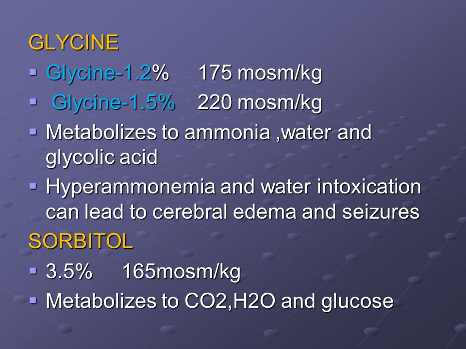 GLYCINE Glycine-1.2% 175 mosm/kg. Glycine-1.5% 220 mosm/kg. Metabolizes to ammonia ,water and glycolic acid.