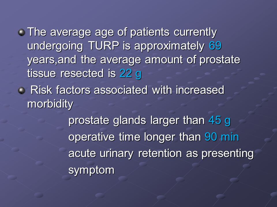 The average age of patients currently undergoing TURP is approximately 69 years,and the average amount of prostate tissue resected is 22 g