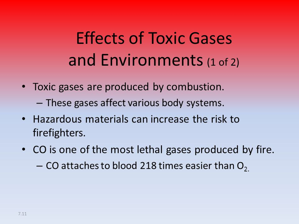 Effects of Toxic Gases and Environments (1 of 2)