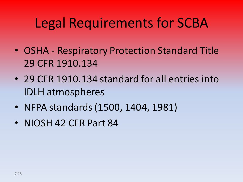 Legal Requirements for SCBA