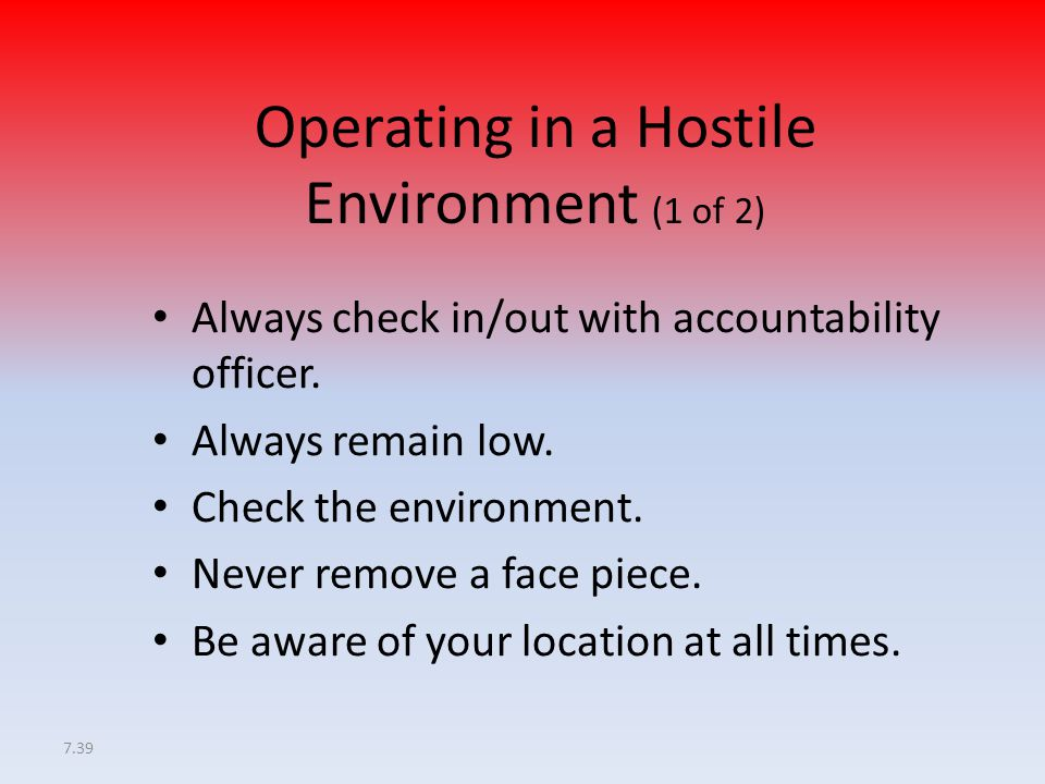 Operating in a Hostile Environment (1 of 2)