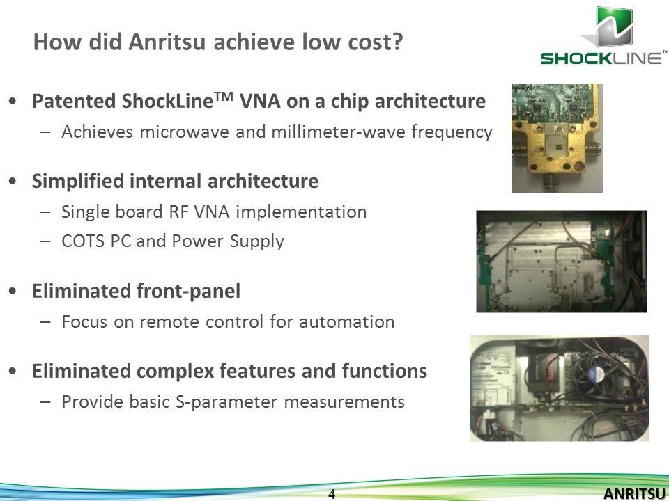 How did Anritsu achieve low cost