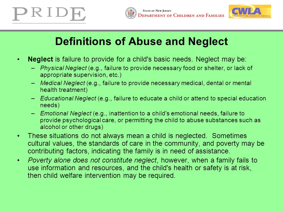 Definitions of Abuse and Neglect