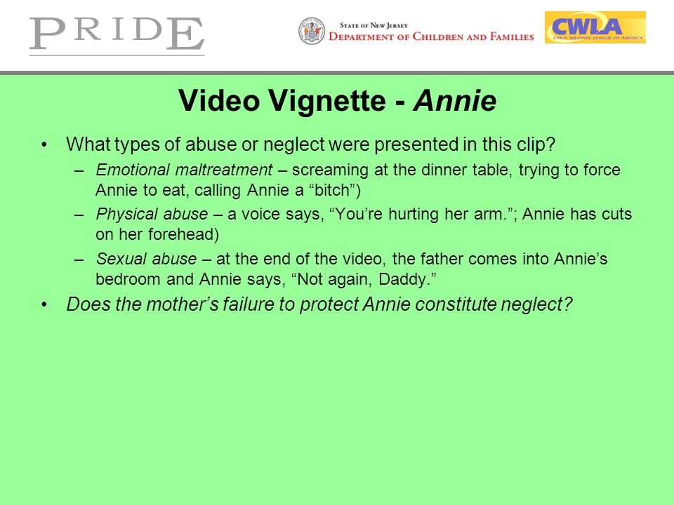 Video Vignette - Annie What types of abuse or neglect were presented in this clip