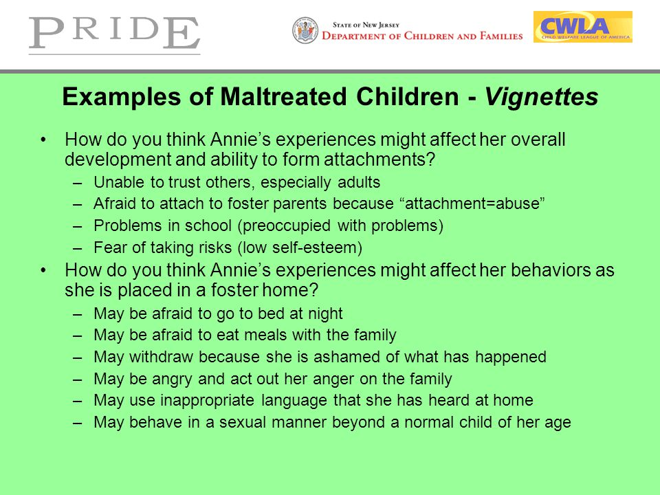 Examples of Maltreated Children - Vignettes