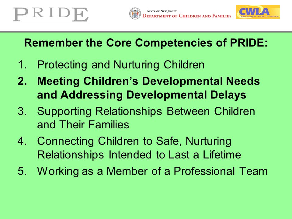 Remember the Core Competencies of PRIDE: