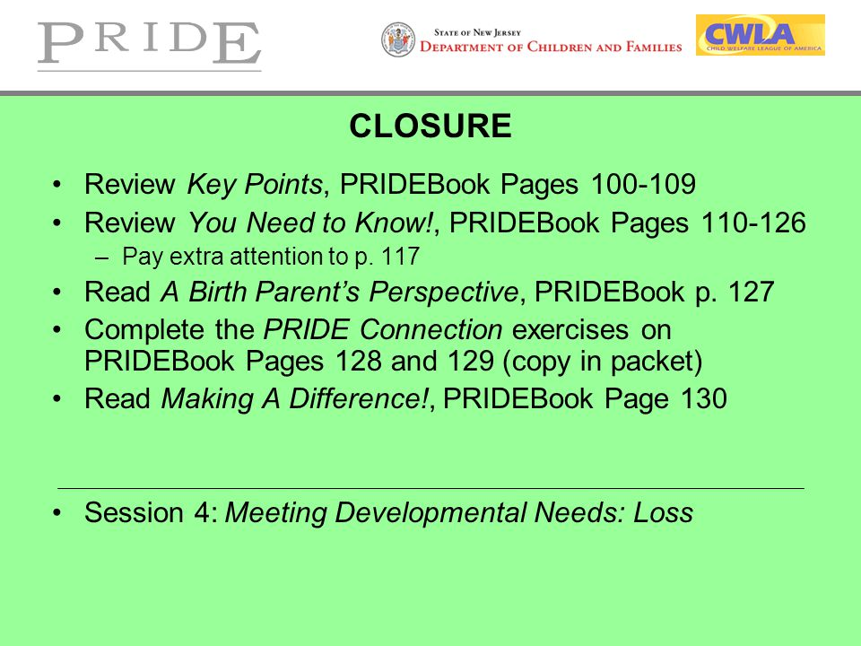 CLOSURE Review Key Points, PRIDEBook Pages 100-109