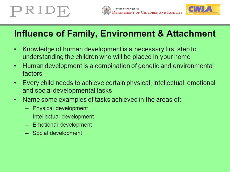 Influence of Family, Environment & Attachment