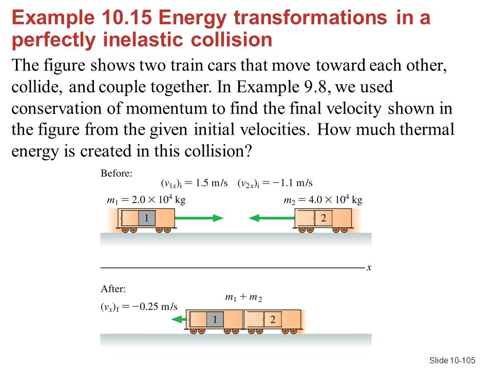 Example 10.15 Energy transformations in a perfectly inelastic collision