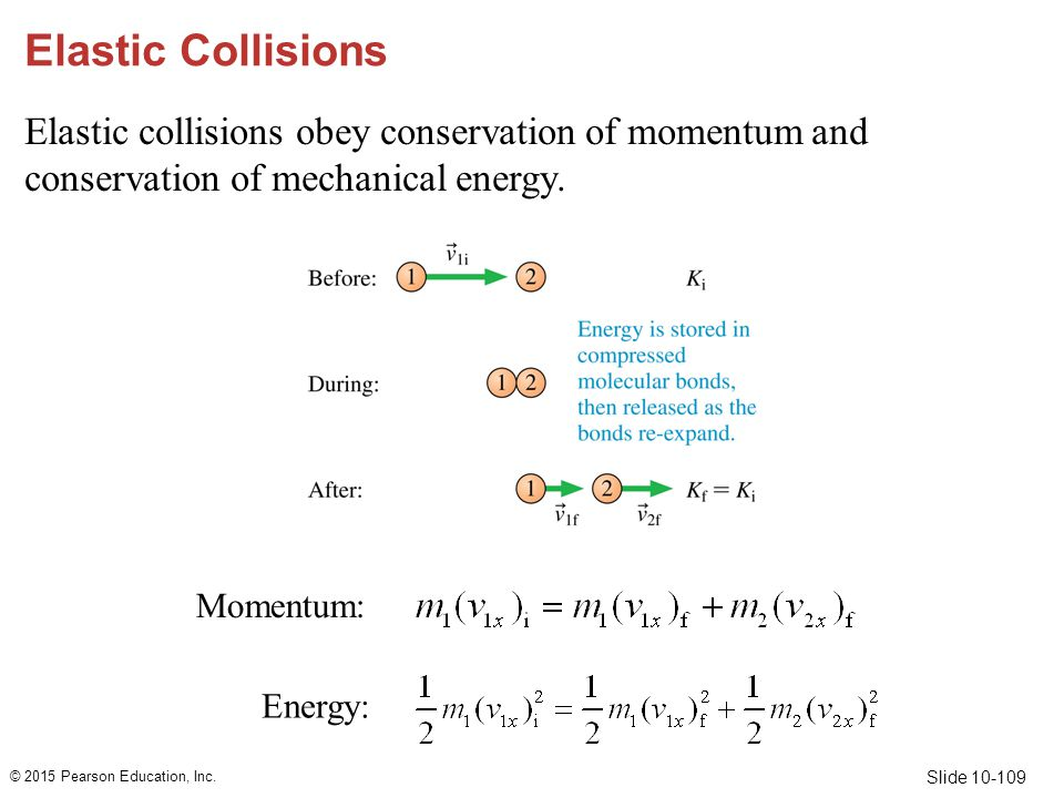 Elastic Collisions Elastic collisions obey conservation of momentum and conservation of mechanical energy.