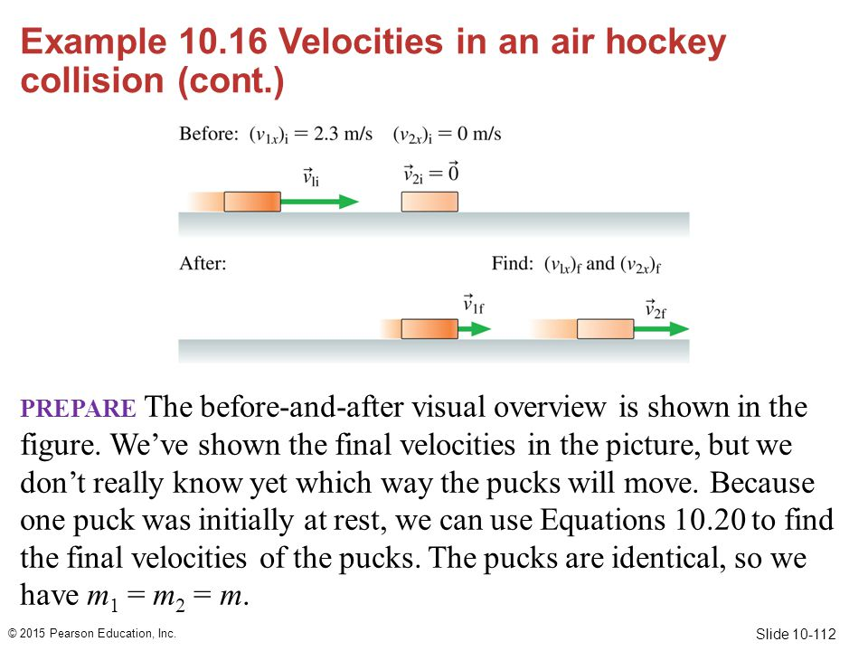Example 10.16 Velocities in an air hockey collision (cont.)