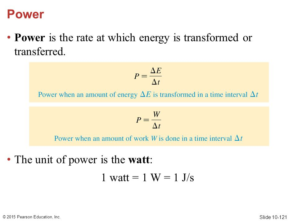 Power Power is the rate at which energy is transformed or transferred.
