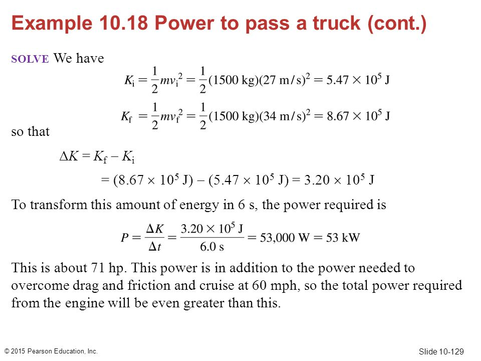 Example 10.18 Power to pass a truck (cont.)