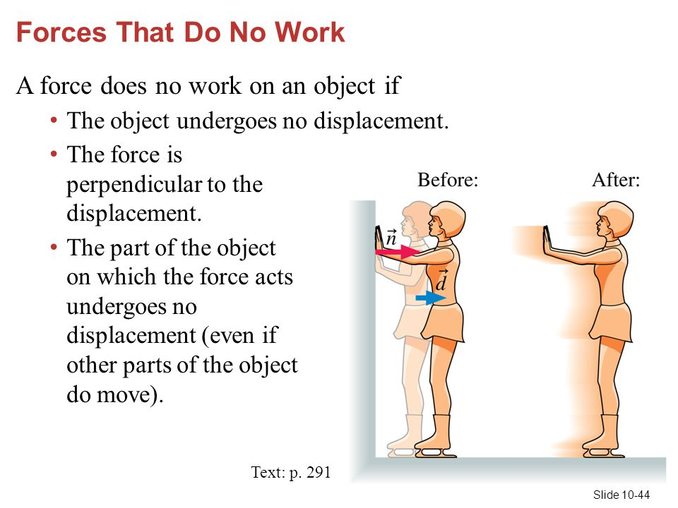 Forces That Do No Work A force does no work on an object if