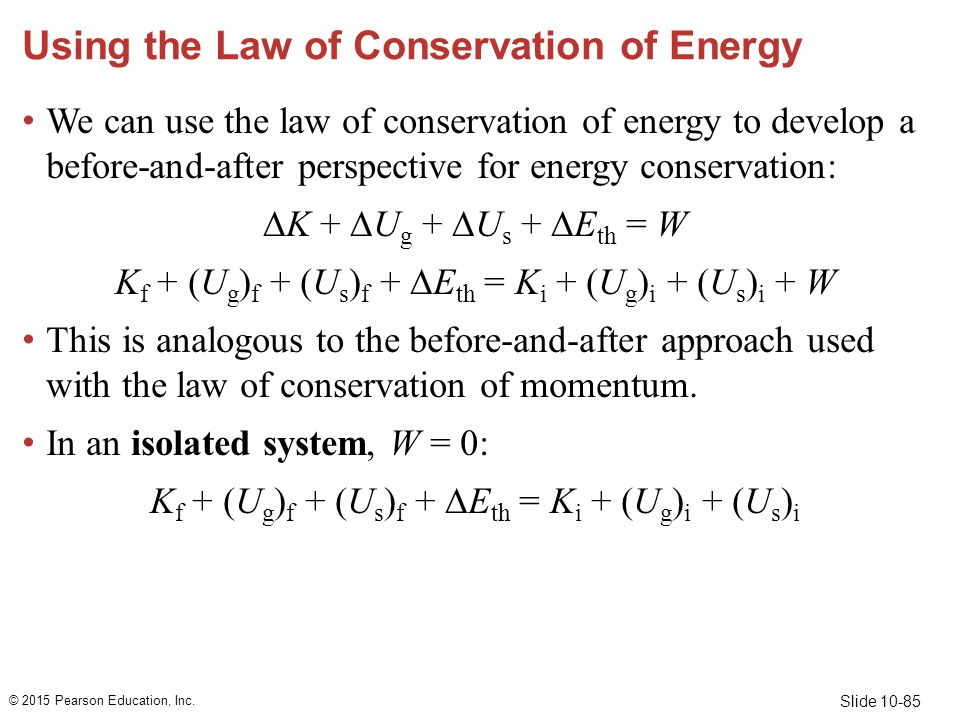 Using the Law of Conservation of Energy