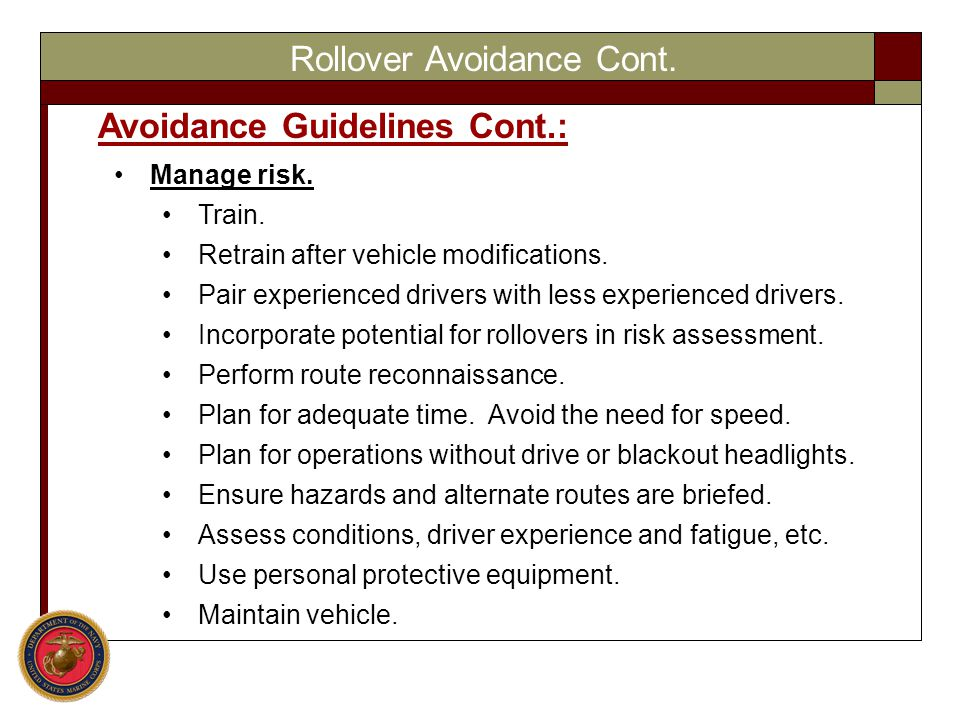 Rollover Avoidance Cont.