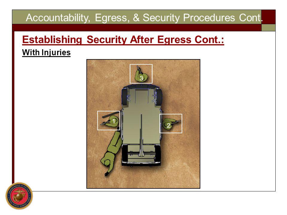 Accountability, Egress, & Security Procedures Cont.