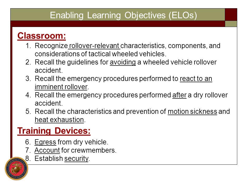 Enabling Learning Objectives (ELOs)