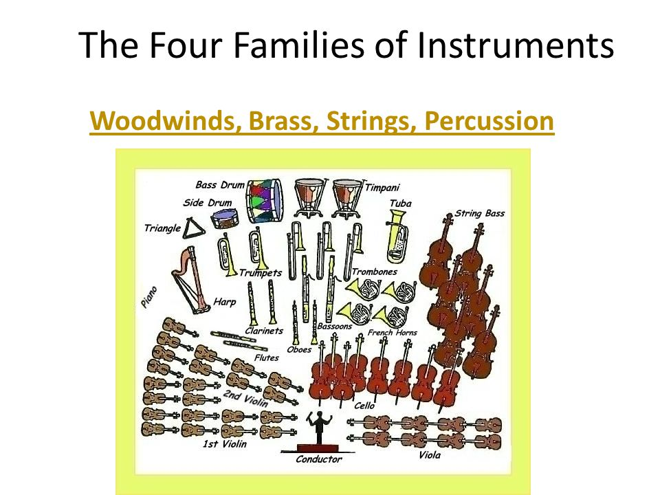 the four families of an orchestra Families of the orchestra: find this pin and more on music class resources by kimmd123 musical four corners, instrument families ppt game for the whole class.