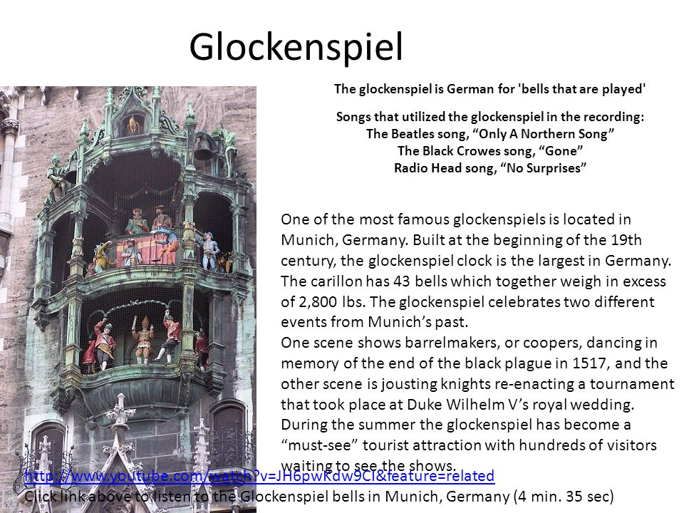 Glockenspiel The glockenspiel is German for bells that are played Songs that utilized the glockenspiel in the recording: