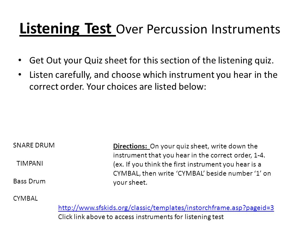 Listening Test Over Percussion Instruments