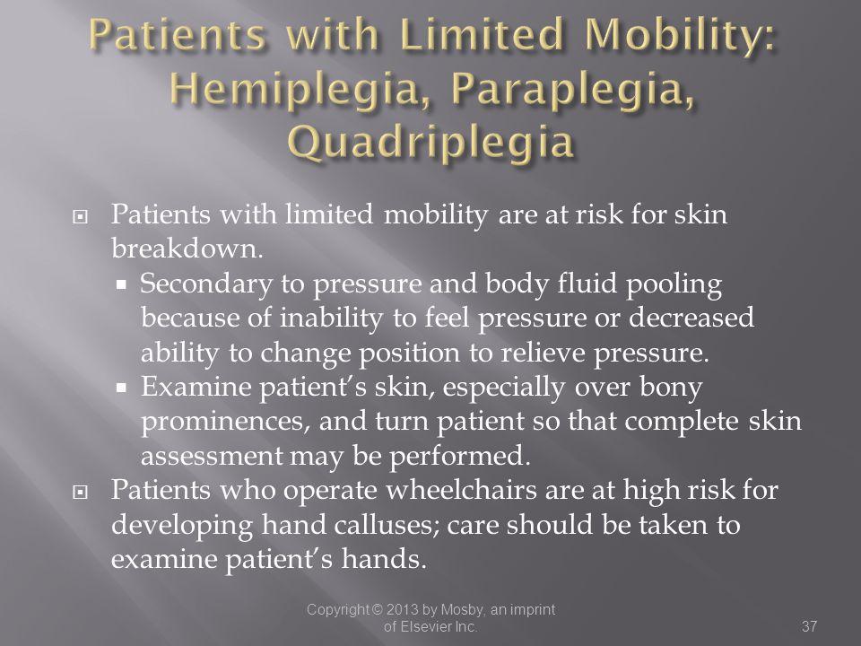 Patients with Limited Mobility: Hemiplegia, Paraplegia, Quadriplegia