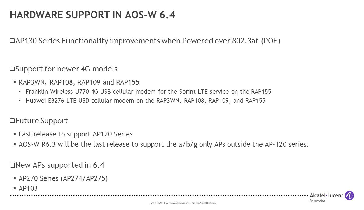 Hardware Support in AOS-W 6.4