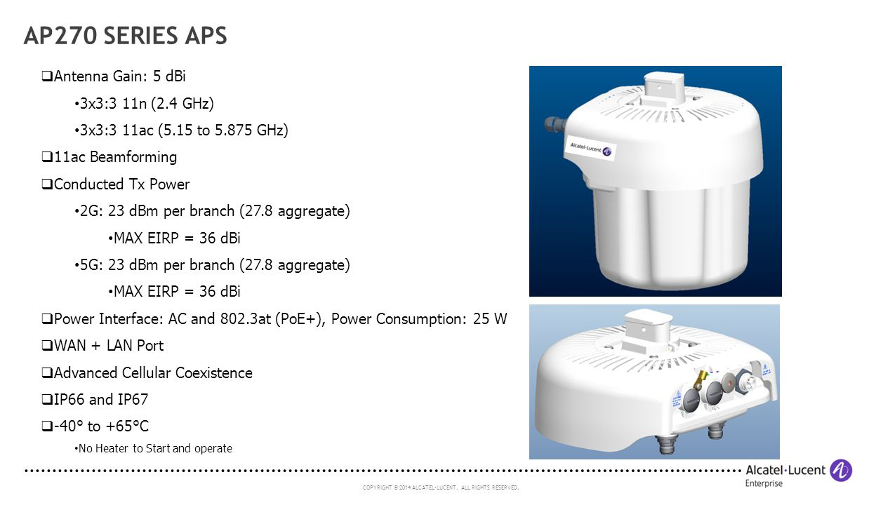 AP270 Series APs Antenna Gain: 5 dBi 3x3:3 11n (2.4 GHz)