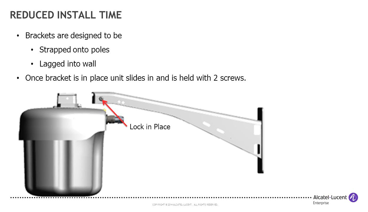 Reduced install time Brackets are designed to be Strapped onto poles