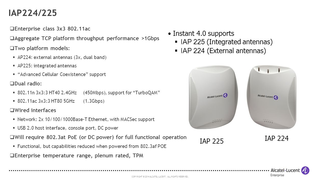 IAP224/225 Instant 4.0 supports IAP 225 (Integrated antennas)