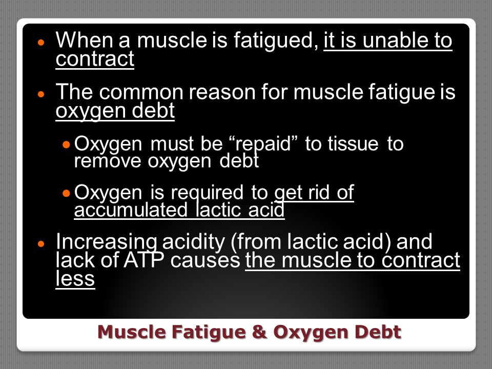 Muscle Fatigue & Oxygen Debt