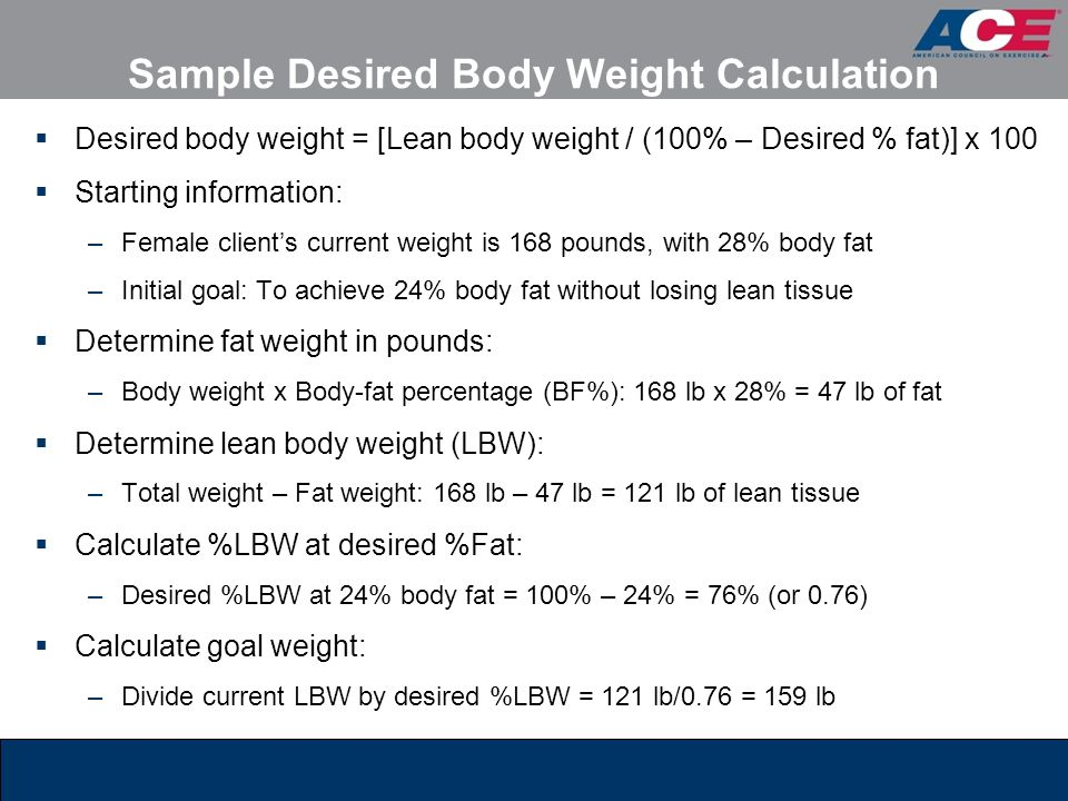 Sample Desired Body Weight Calculation