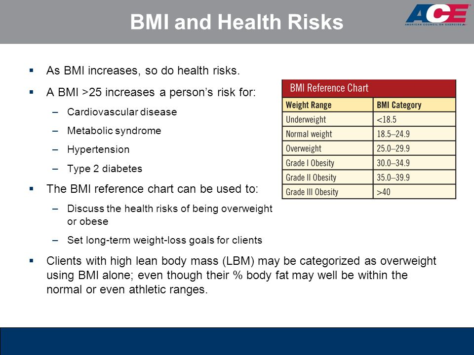 BMI and Health Risks As BMI increases, so do health risks.